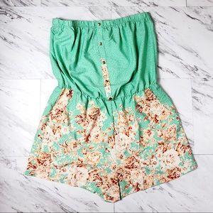 Pants - Plus Size Mint & Peach Floral Strapless Romper